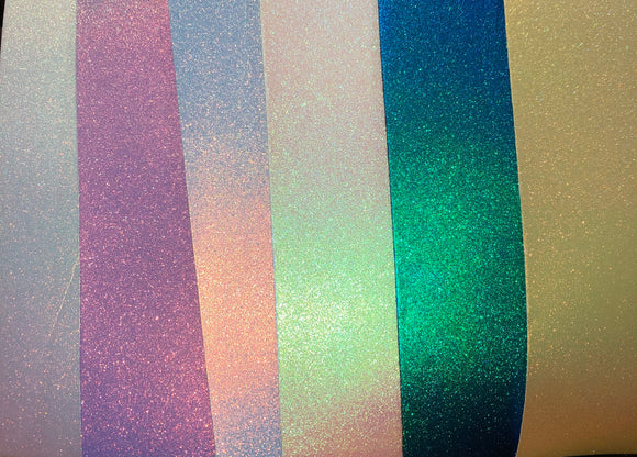Set of 6 Iridescent Pearl Faux Leather (15 x 21 cm)