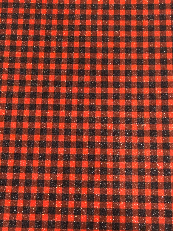 Faux Leather - Buffalo Plaid with superfine glitter finish