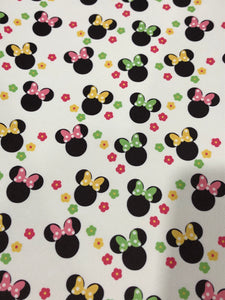 Spring Flowers Girl Mouse Faux Leather