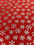 Faux Leather  - Silver Snowflakes  Litchi - Asstd colors