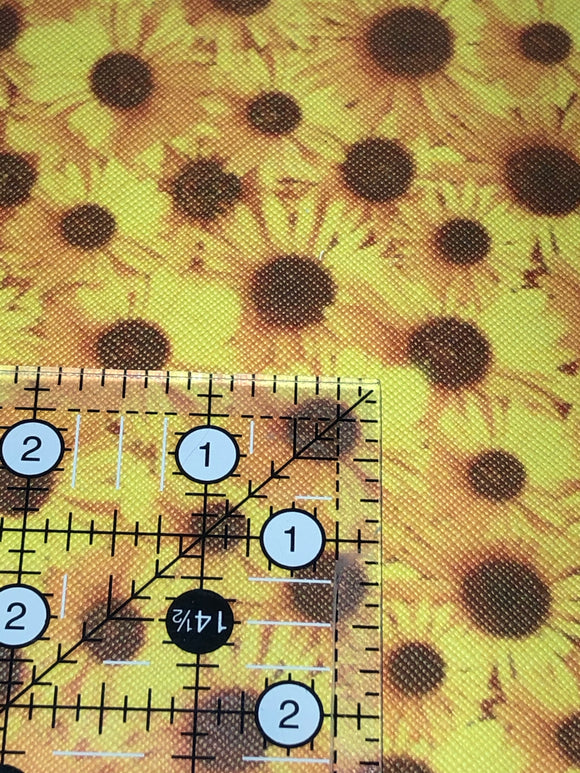 Faux Leather  Sunflowers -all over print