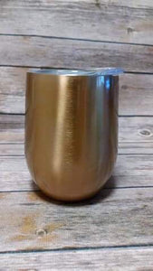 Stainless Steel Wine Tumblers   12 oz  with clear lid     Sparkly Gold