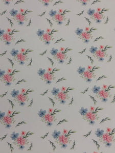 Small Blue Pink Floral Faux leather