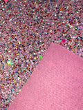 Pink Multicolour Chunky Glitter Faux Leather