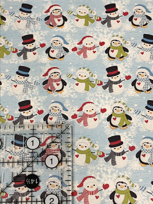 Snowmen and Penguins Faux Leather