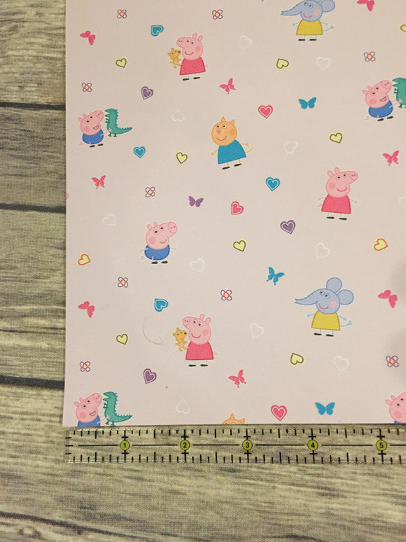 Faux Leather   Pink Background  Peppa Pig
