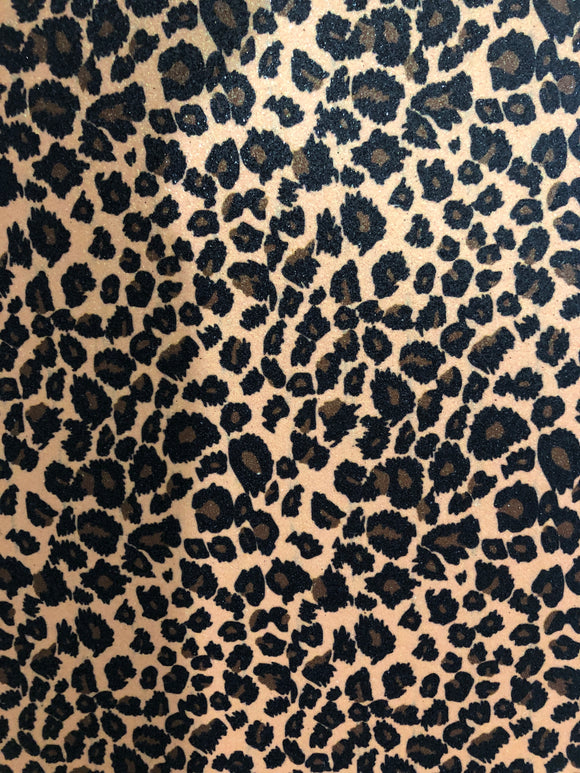 Leopard Print Fine Glitter Faux Leather