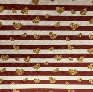 Red stripes w Gold hearts Faux leather