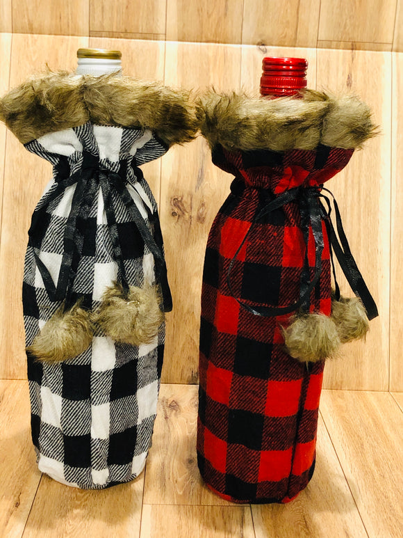 Fur topped Plaid Wine Bags with Pom Pom ties