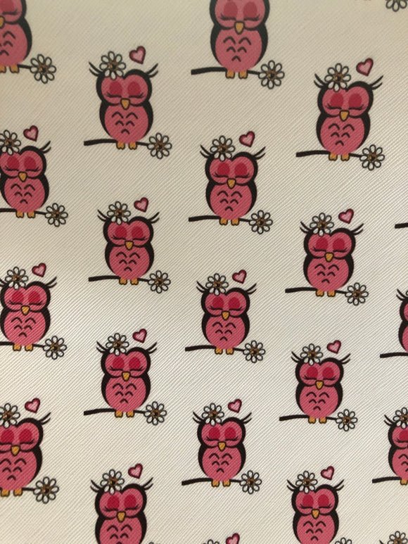 Pink Owls on Branch Faux leather