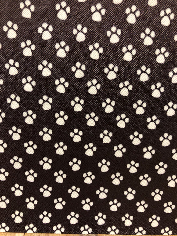Faux Leather - Paw Prints (Horizontal print)
