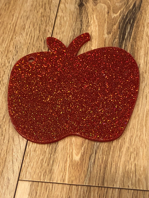 76 mm  acrylic red glitter apple