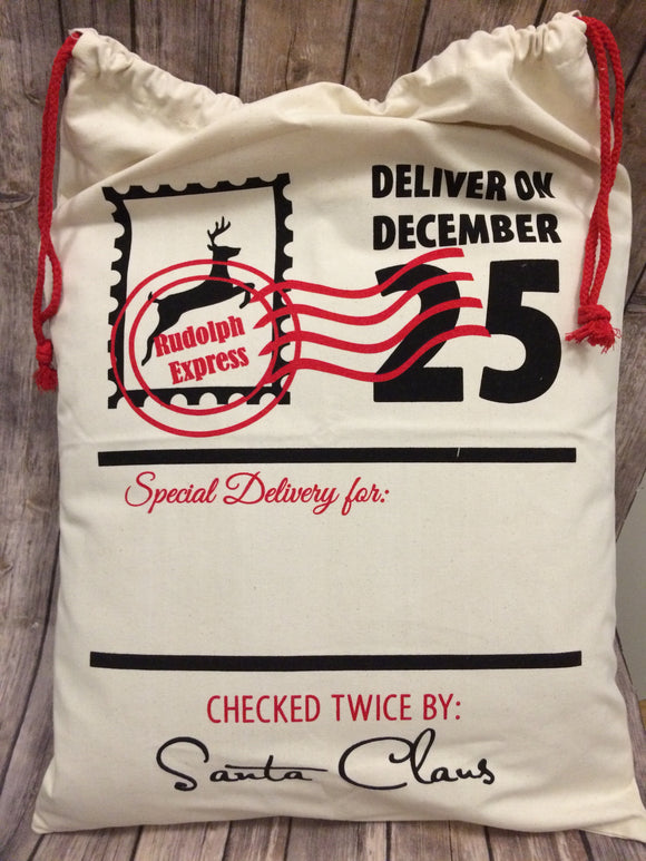 Santa Sack Natural - Rudolph express