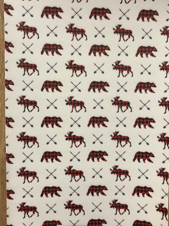 Faux Leather  - Plaid Bears Moose