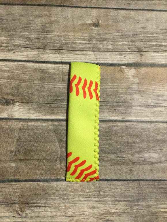 Freezie Koozies Sports Theme  -  Baseball Lacing - Yellow with Red Lacing