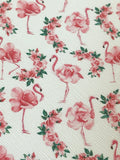 Flamingos and Flowers Faux leather