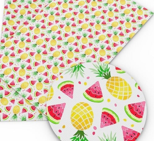 Watermelons and Pineapples Faux Leather