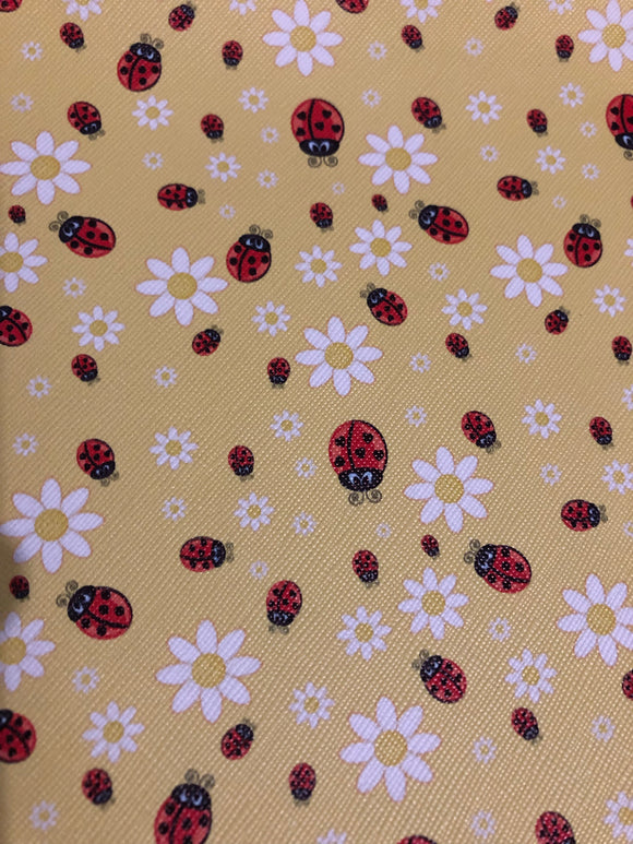 Faux Leather  yellow with Ladybugs