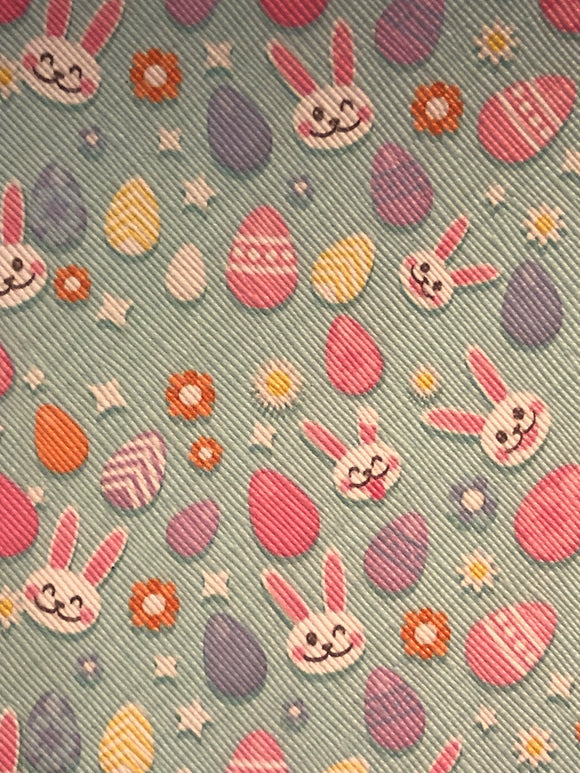 Faux Leather  Easter Bunny Eggs- horizontal print