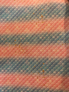 Smaller Mermaid Scales Faux Leather - Light blue and pink with gold Speckles