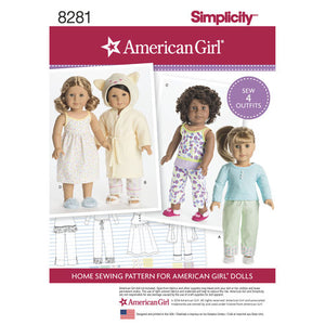 Simplicity Sewing Pattern #8281 American Girl Doll 4 outfits