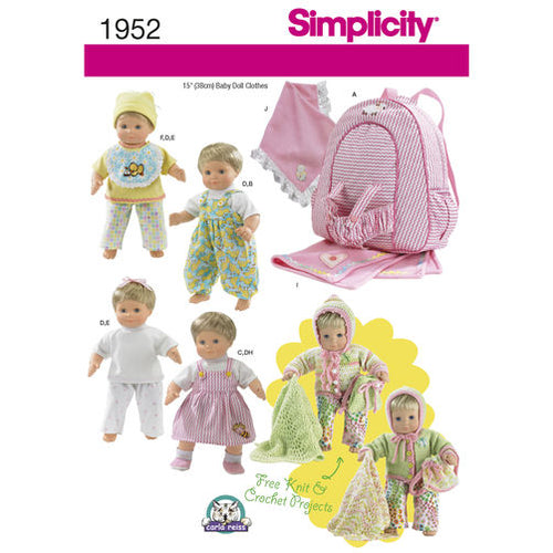 Simplicity Sewing Pattern # 1952 Baby Doll Clothes, Carrier and Blanket