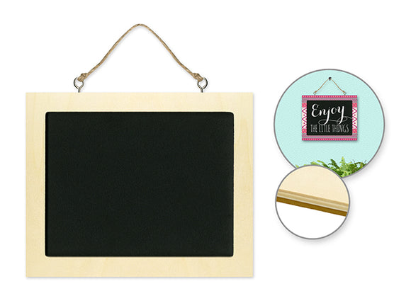 Wood Rectangle Chalkboard with jute hanger Small