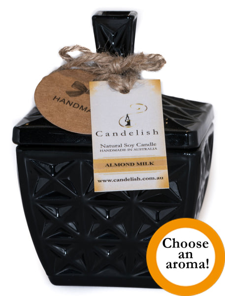 Black Glass Square Deluxe Soy Candle