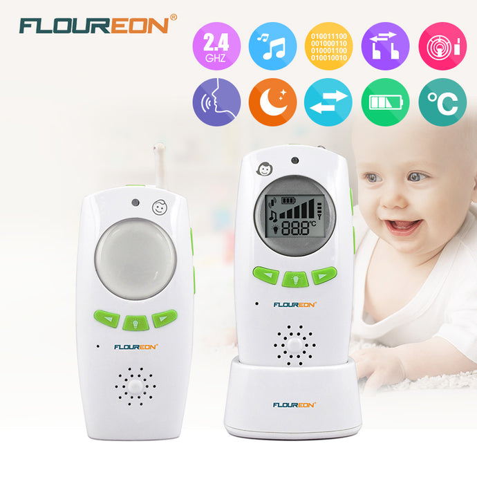 baby Monitor Wireless Transmission Radio Digital Alarm 2.4GHz Phone Temperature Monitor