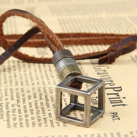 Leather Cube Necklace