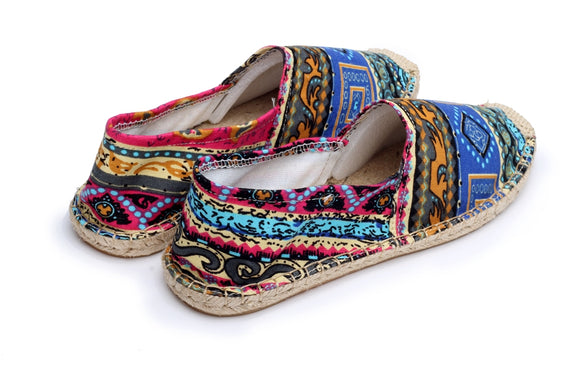 Patterned Hemp Moccasin Shoes
