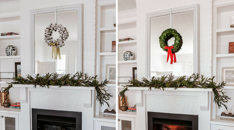 hanging wreaths on mirrors