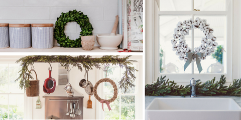 displaying wreaths in the kitchen