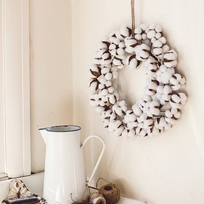 Cotton Wreath in Mudroom