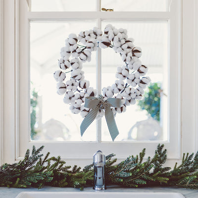 Cotton Wreath on sink