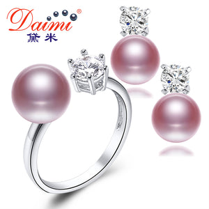 Natural Purple Pink White Black Pearl Earrings Sets