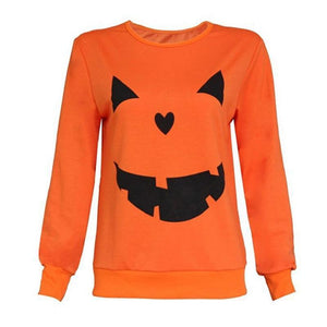 Stylish Pumpkin Long Sleeve Sweater