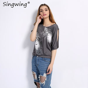 Summer Women Feather Printed T-shirts