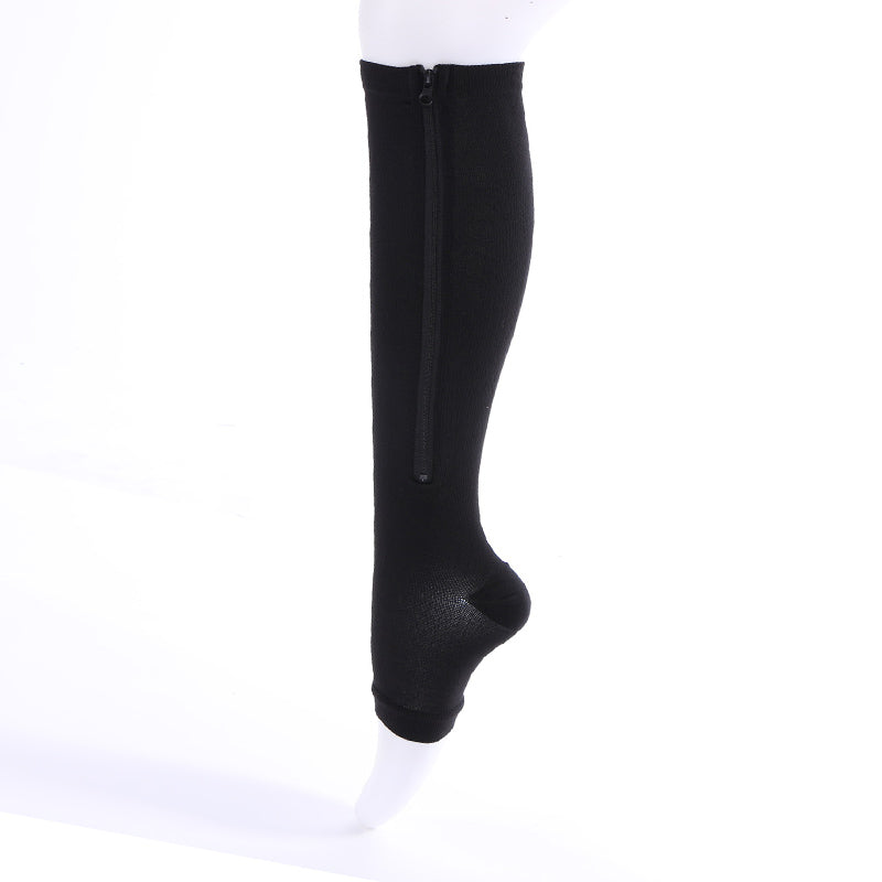 Travel Antifatigue Unisex Women Compression Socks Zipper Leg Support Knee Socks Open Toe High Quality Medical Compression Socks