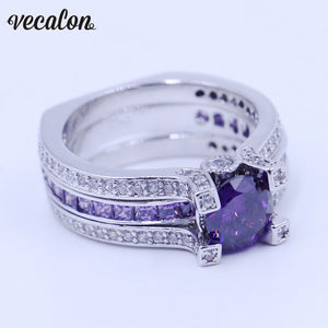 Vecalon Fashion Couple Engagement ring