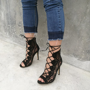 Women Pumps Brand Designer High Heels Cut Outs Lace Up Open Toe Party Shoes Woman Gladiator Sandals Women Sexy Ladies Black