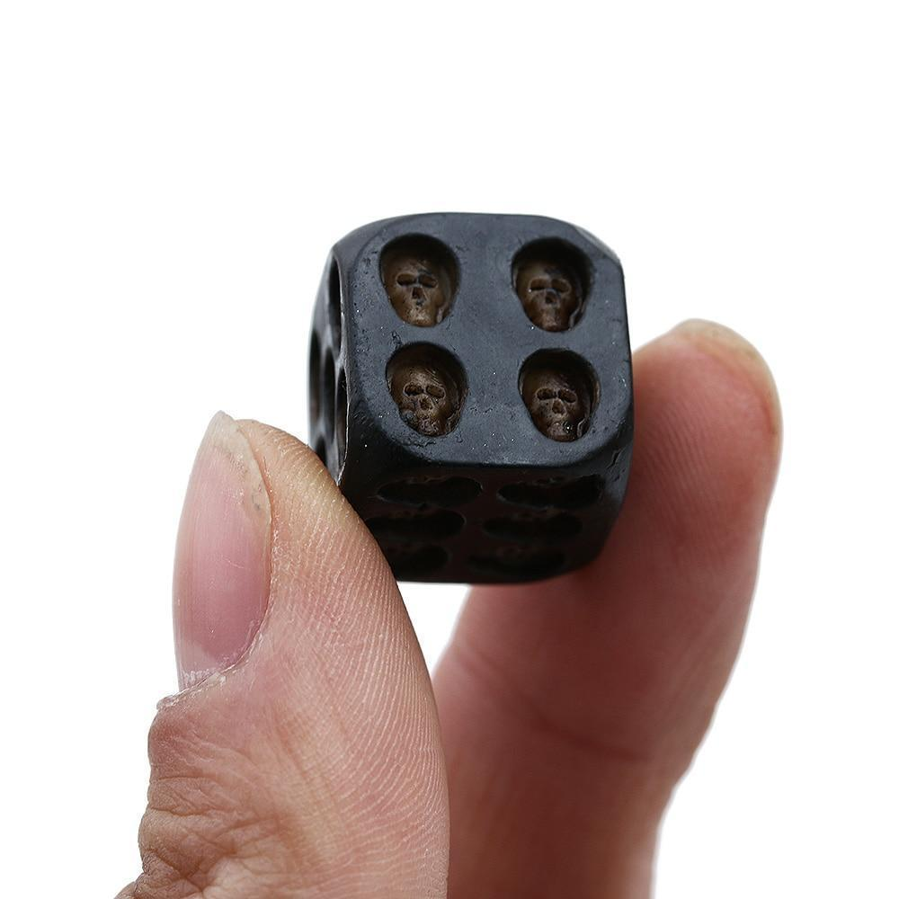 HANDMADE BLACK SKULL DICE (SET OF 5)