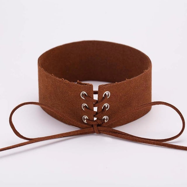 Punk Gothic Choker Necklace Vintage Velvet Leather