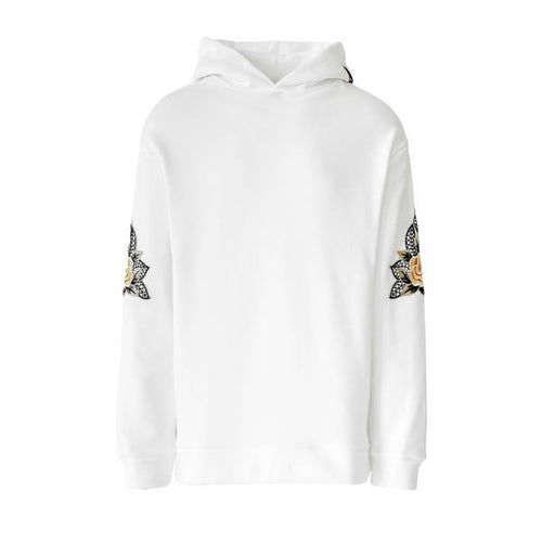 WHITE FLOWER EMBROIDERED HOODIE