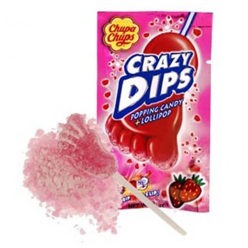 Chupa Chups Crazy Dips Popping Candy & Lollipop Strawberry Flavour 14g