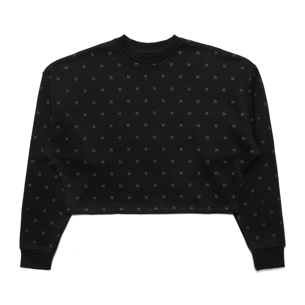 ALL-OVER CROP CREW - BLACK
