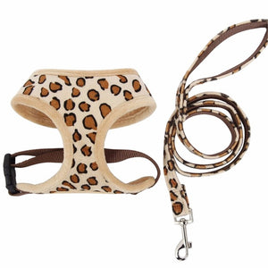 Soft Pet Harness+Pet Leash Leopard Pink/Beige Adjusta Cat Harness Pet Supplies