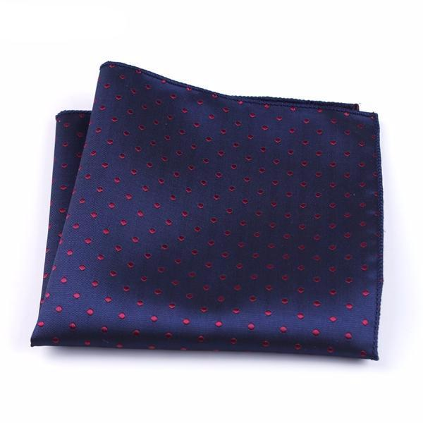 Formal Pocket Squares - Red Polka Dot on Blue