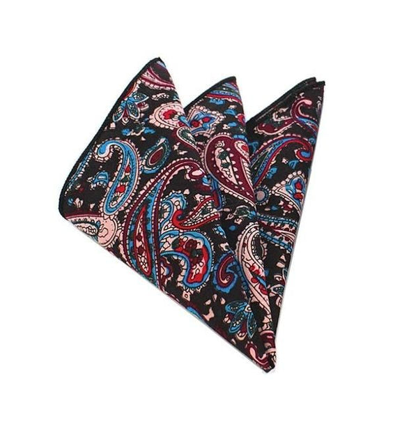 Floral Pocket Square - Red/Blue