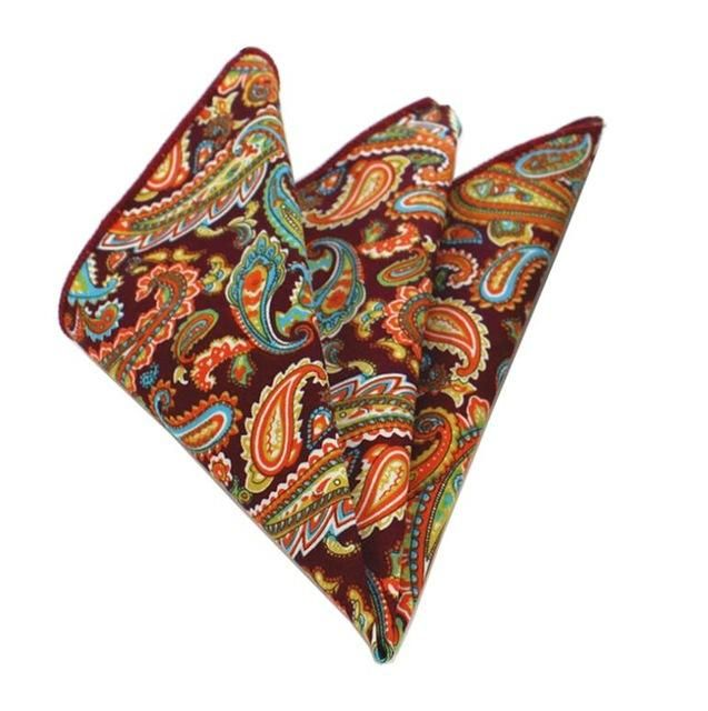 Floral Pocket Square - Orange